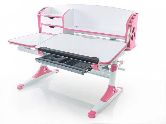 Bologna Ergodesk - biurko dla dzieci regulowane, model biało-rózowy