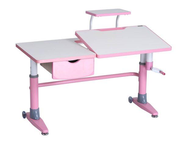 Ergodesk Ferrara - dziecięce biurko, wersja biało-różowa