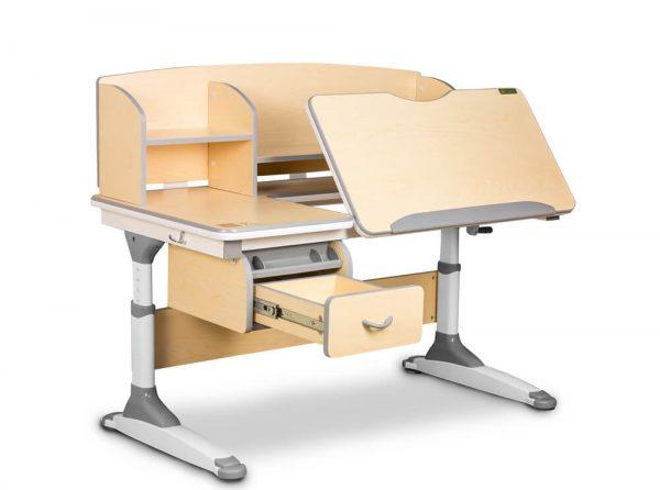 Ergodesk Torino - biurko regulowane, widok pulpitu i szuflady