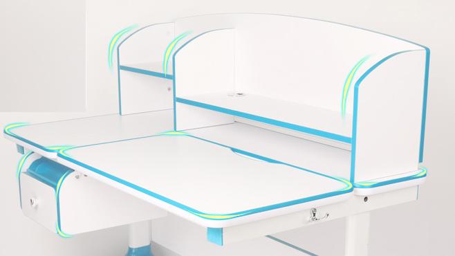 Biało-niebieskie biurko z regulacją wysokości Ergodesk Torino